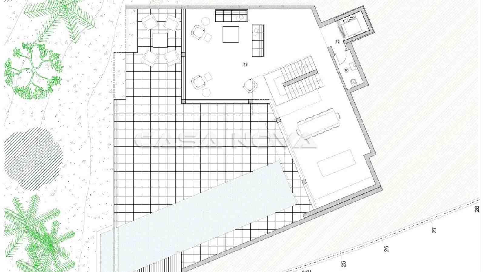 Plan des Ergeschosses der hochwertigen Immobilie