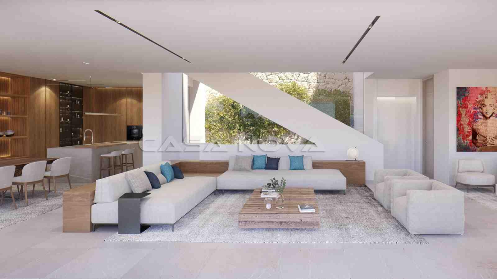 Lichtdurchfluteter Salon mit integrierter Einbauküche
