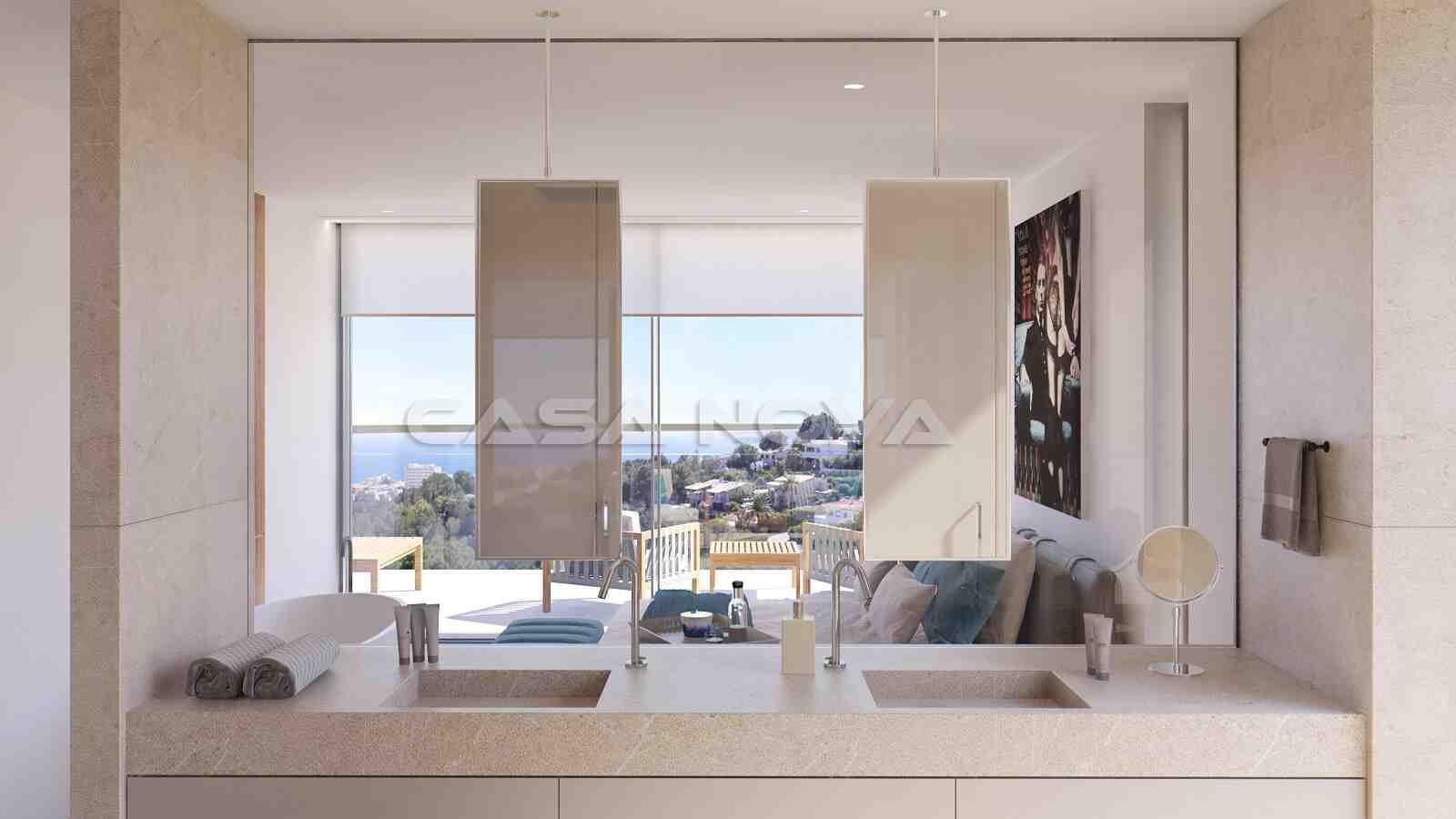 Blick vom Badezimmer und Schlafzimmer auf das Meer