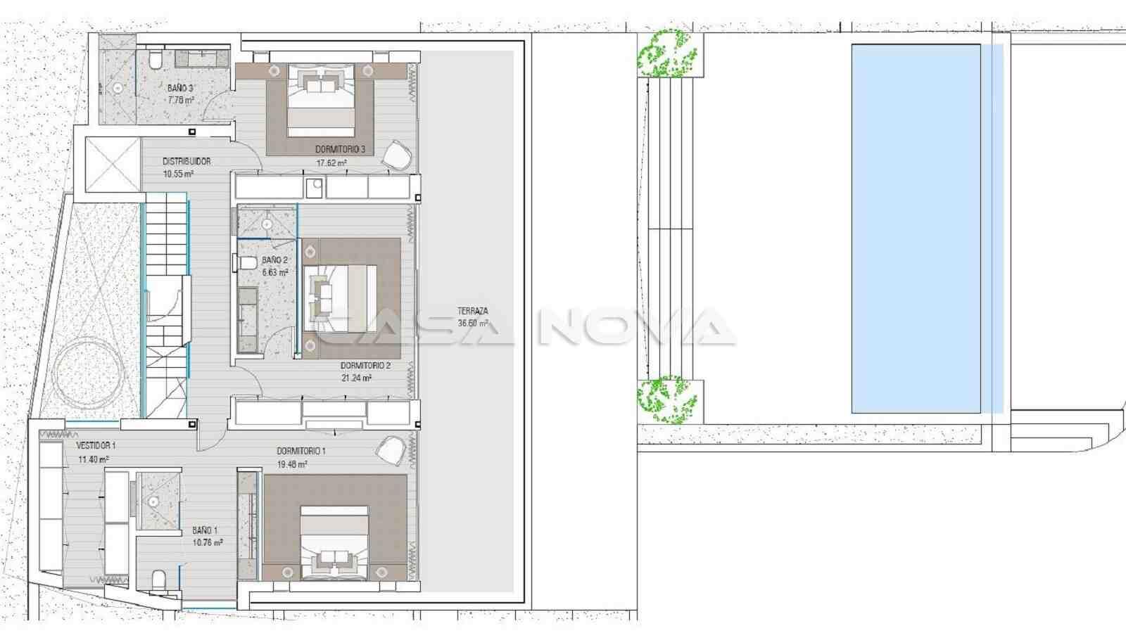 Plan vom Obergeschoss der Mallorca Villa