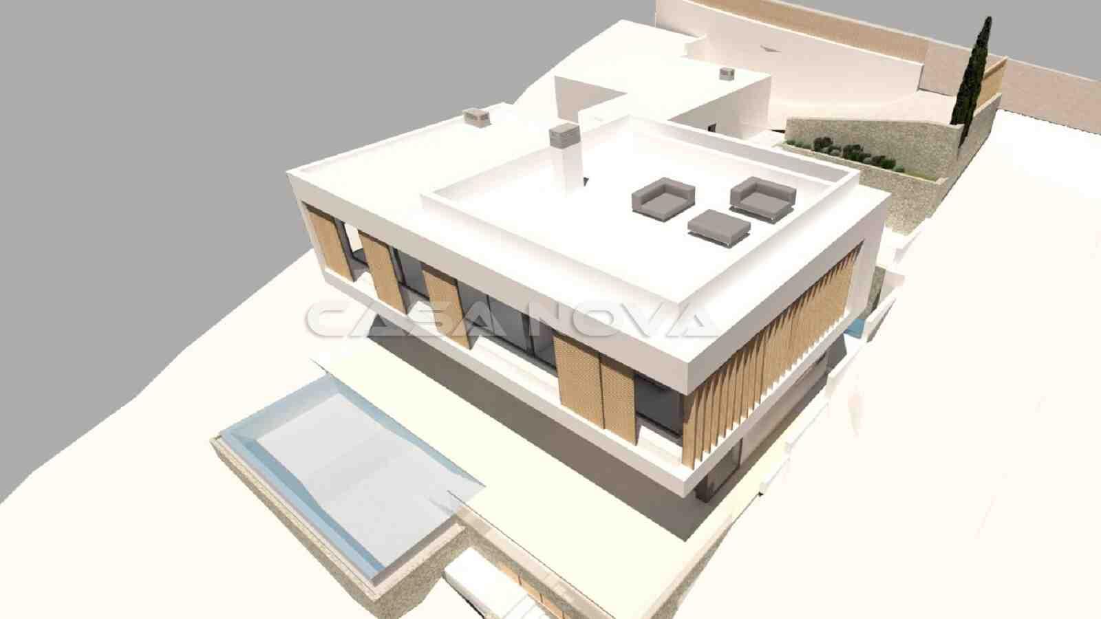 3D Render: Luxusvilla mit Pool und Dachterrasse