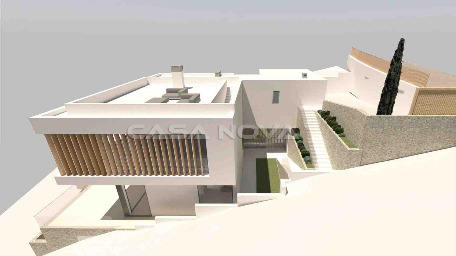 Render: Seitenansicht des Villenprojektes