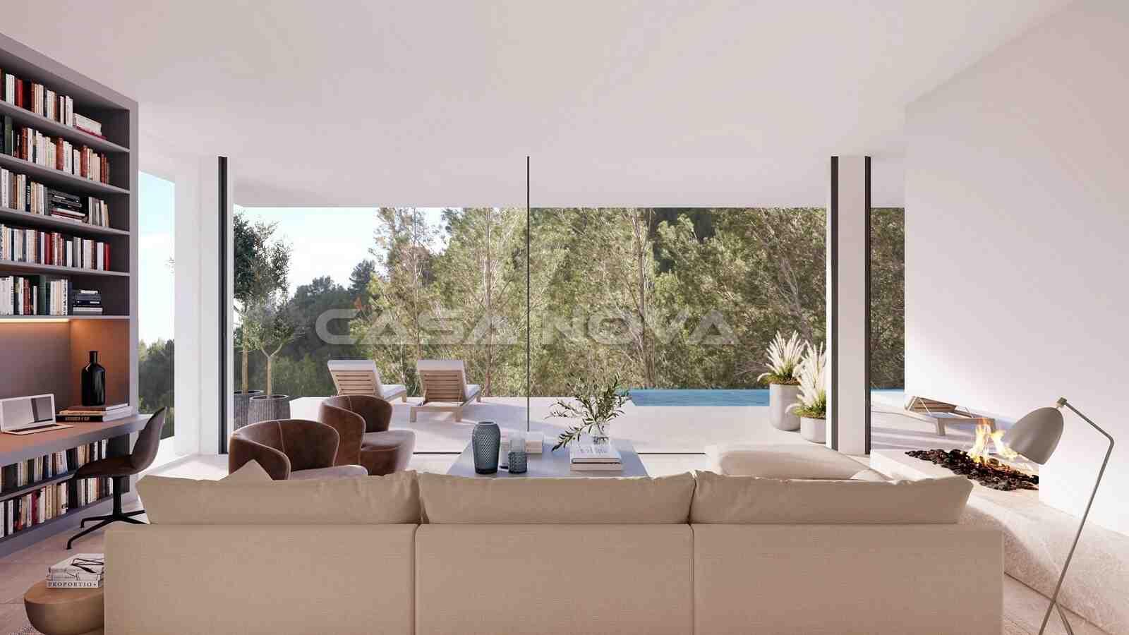 Lichtdurchfluteter Salon mit Terrassenzugang