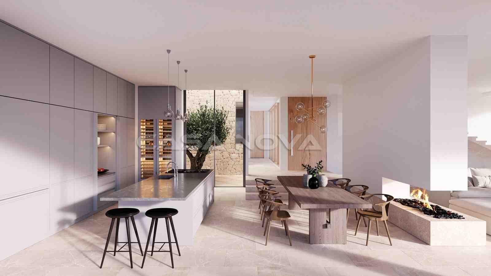 Eleganter Essbereich mit angrenzender Einbauküche