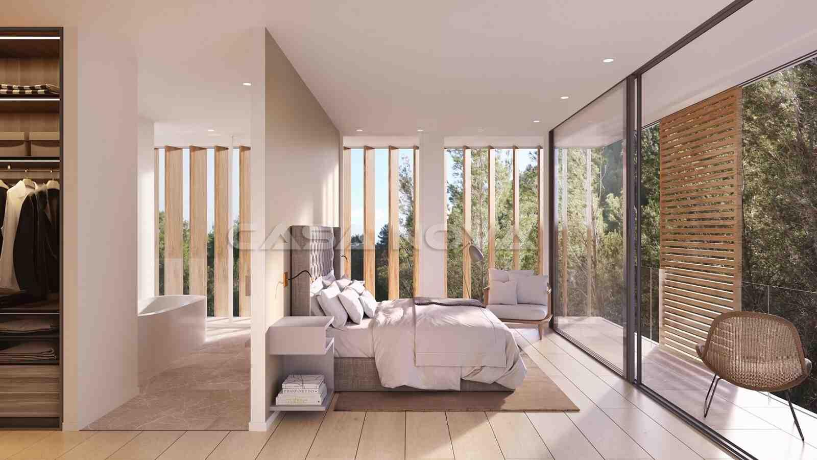 Grosses Hauptschafzimmer mit Ankleideraum und Bad en Suite