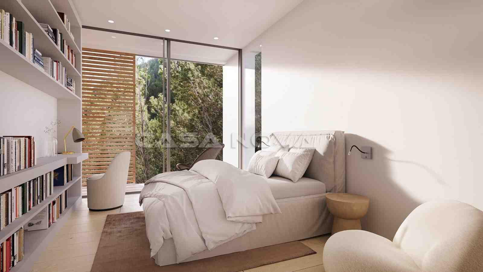 Helles Schlafzimmer mit moderner Einrichtung