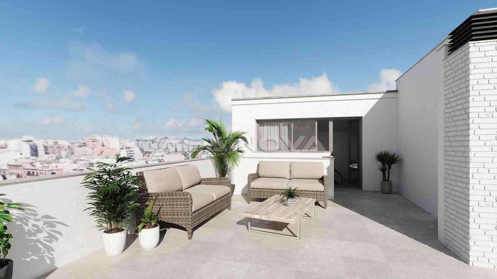 Grosszügige Dachterrasse der Mallorca Immobilie