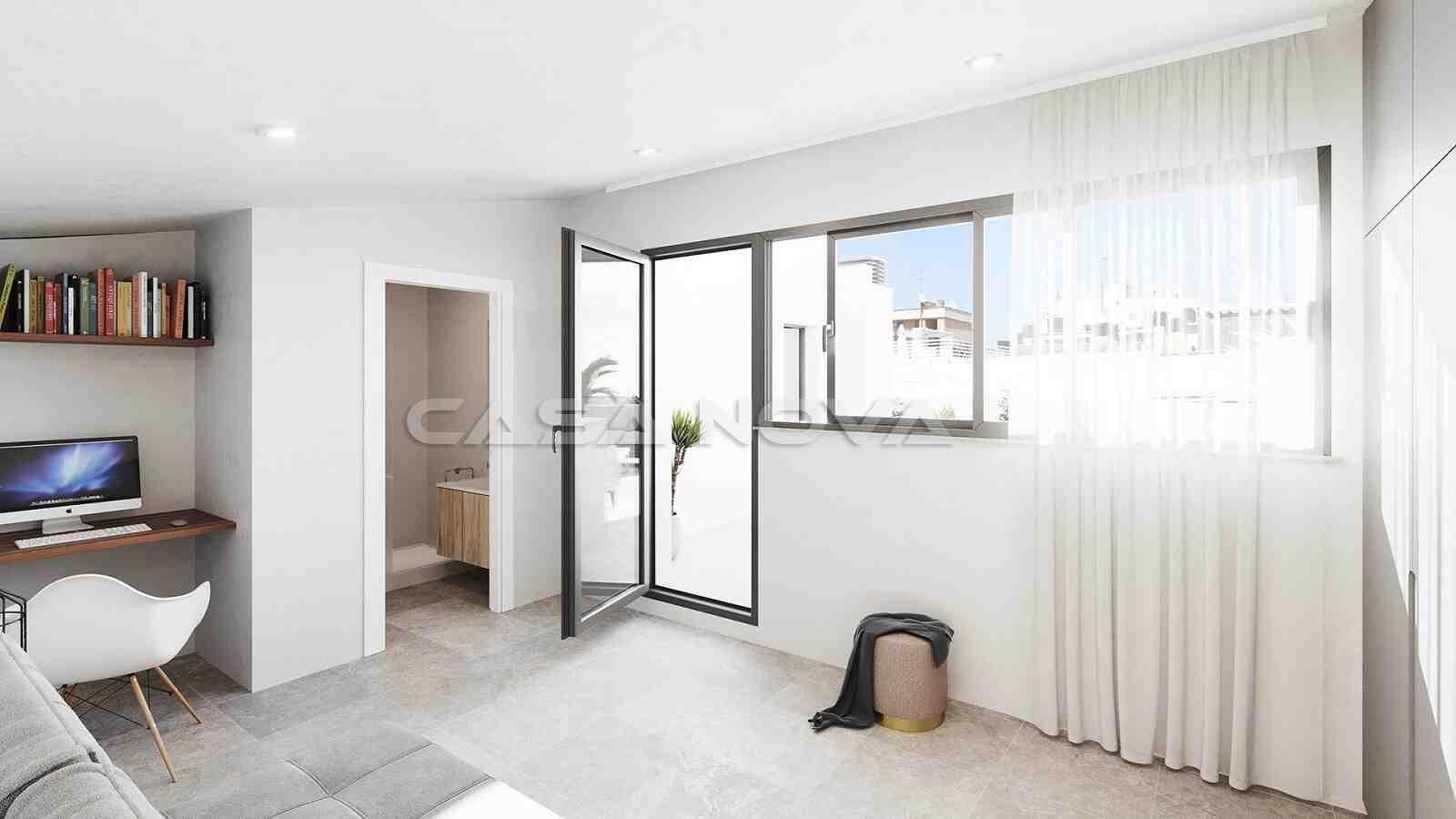 Grosses Schlafzimmer mit Bad en Suite und Zugang zur Dachterrasse