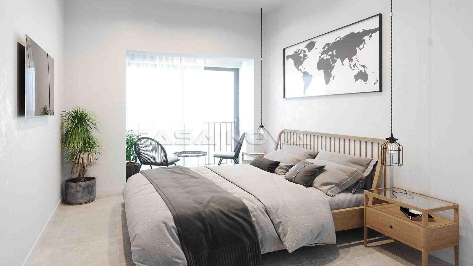 Doppelschlafzimmer mit großen Fensterelementen