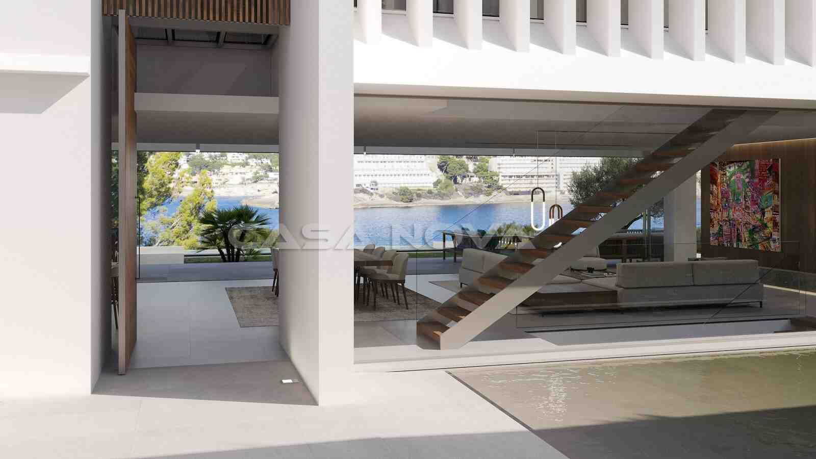 Einladender Eingangsbereich mit eindrucksvollem Treppenaufgang