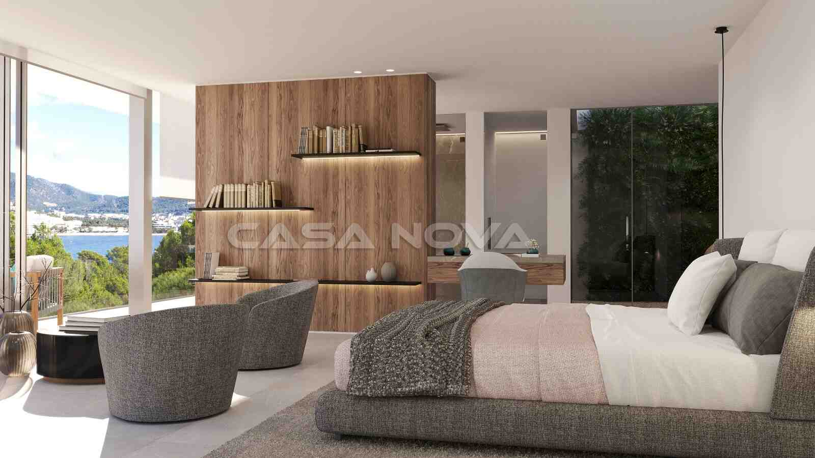 Lichtdurchflutetes Schlafzimmer mit Sitzecke