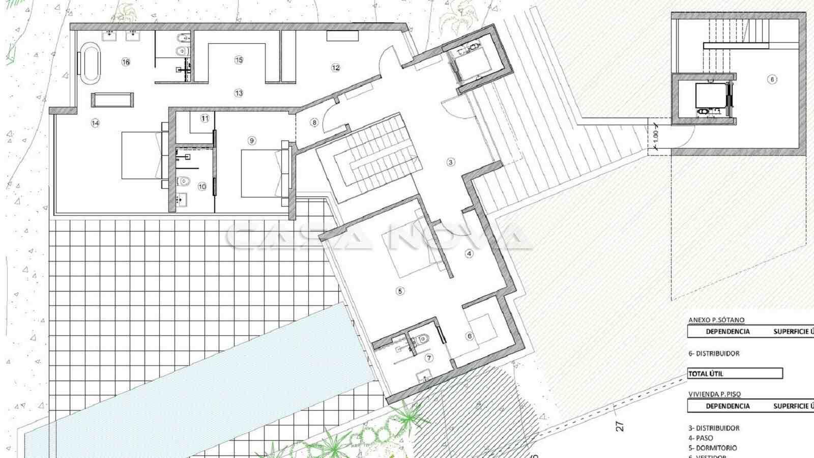 Plan des Obergeschosses der exklusiven Villa
