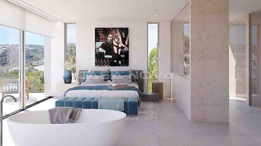 Modernes Doppelschlafzimmer mit Bad en Suite