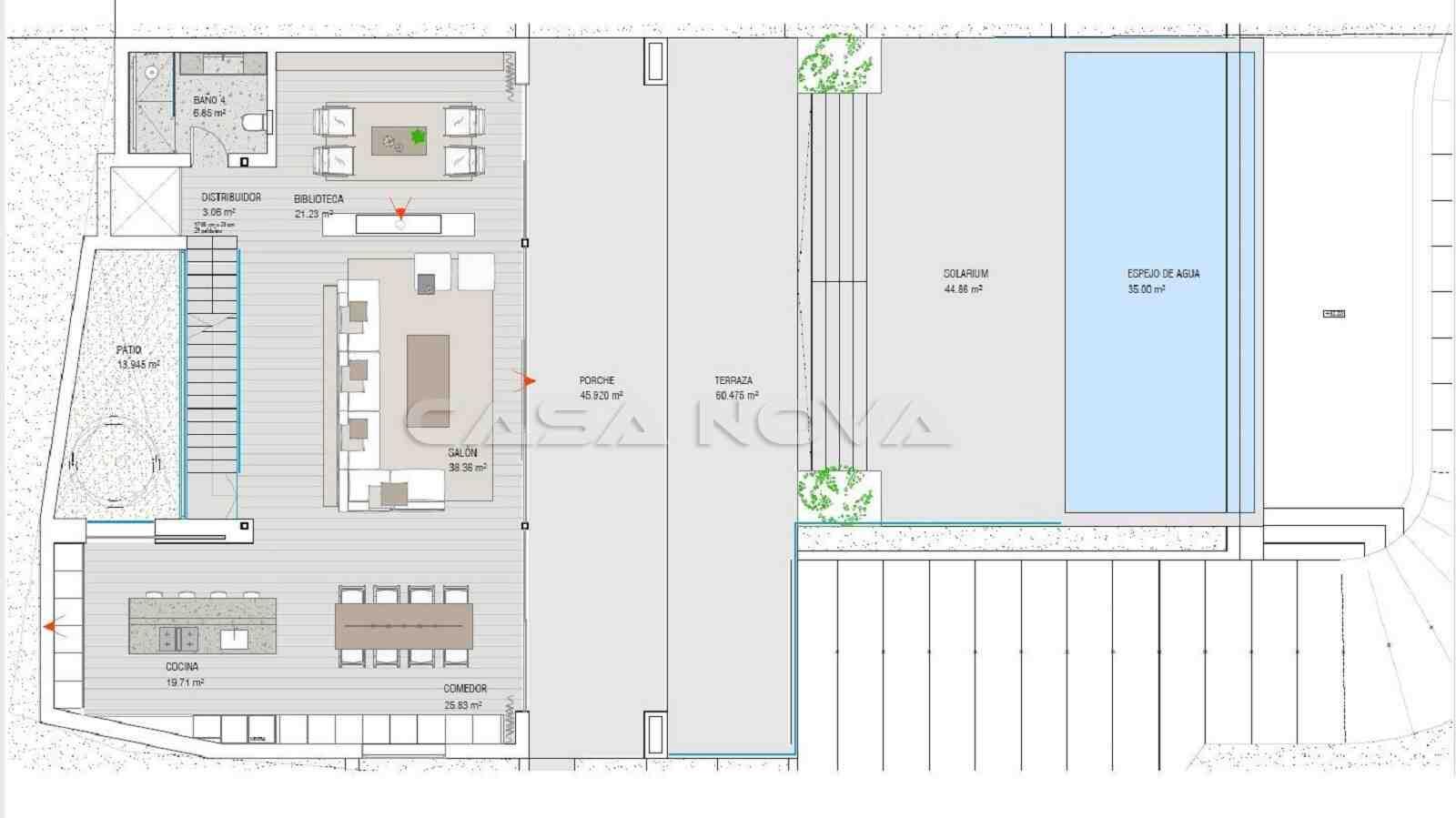 Plan der Hauptwohnebene der Mallorca Immobilie