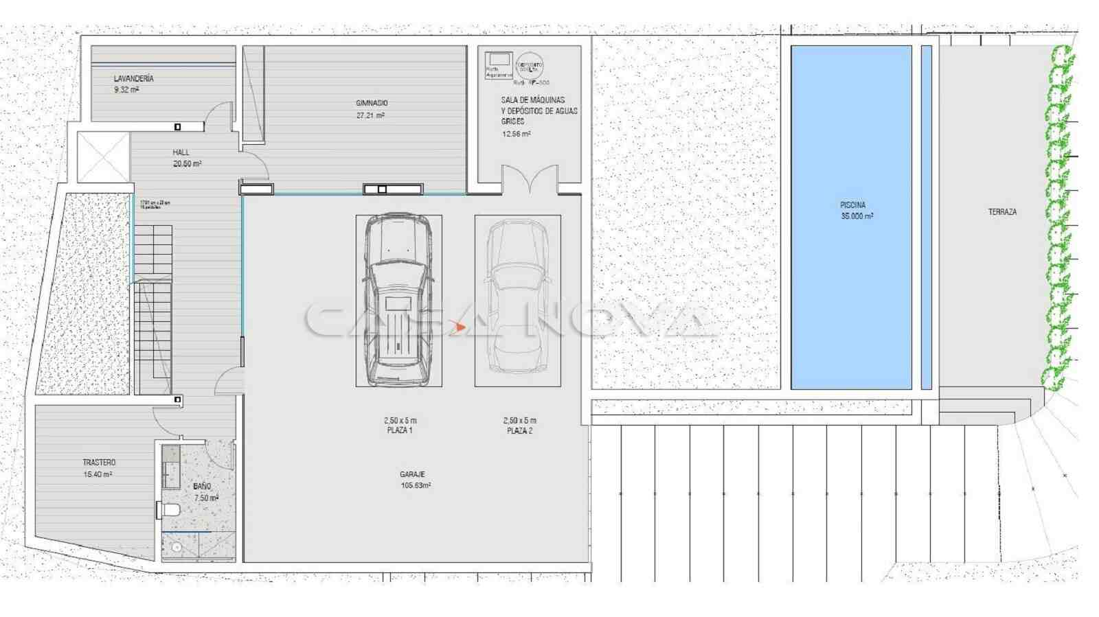 Plan vom Untergeschoss mit Garage und Fitnessraum