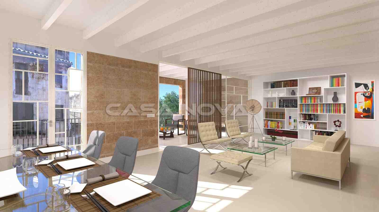 Stilvoll eingerichteter Wohnbereich der Immobilie