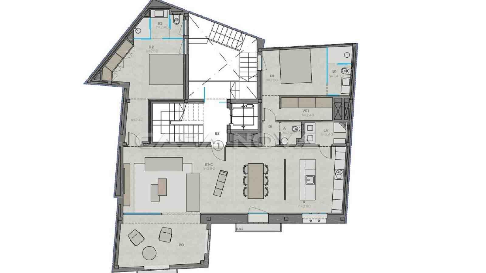 Plan von diesem renovierten Apartment