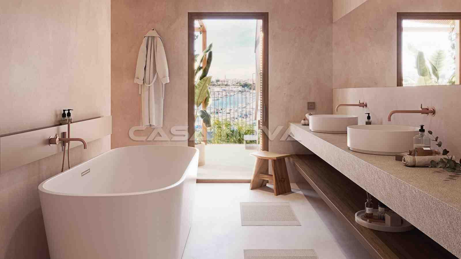 Helles Badezimmer mit Blick auf das Meer